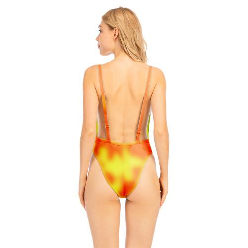 Orange Tie Dye Discoloration Backless One-piece Swimwear TQK620106-14