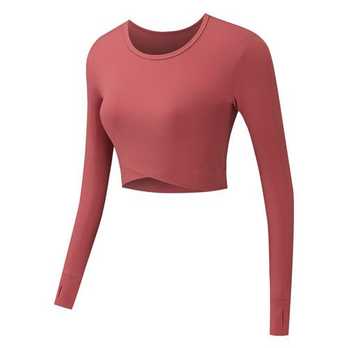 Flame Red Cross Hem Long Sleeve Sportswear Crop Tops TQE29054-109