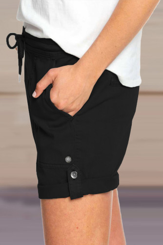 Black Elastic Waistband Pocket Drawstring Shorts with Button LC771038-2