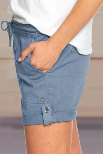Blue Elastic Waistband Pocket Drawstring Shorts with Button LC771038-5