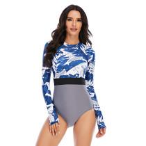 Blue Leaf Print Long Sleeve Surfing Swimsuit TQK620107-5