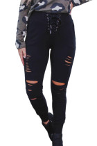 Black Mid Waist Lace-up Cut Out Leggings with Pocket LC77612-2