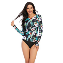 Green Floral Print Long Sleeve Surfing Swimsuit TQK620107-9