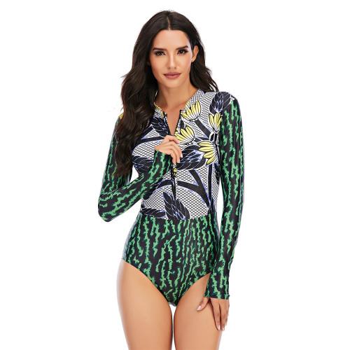 Green Floral Print Zip Front Rashguard Swimsuit TQK620109-9