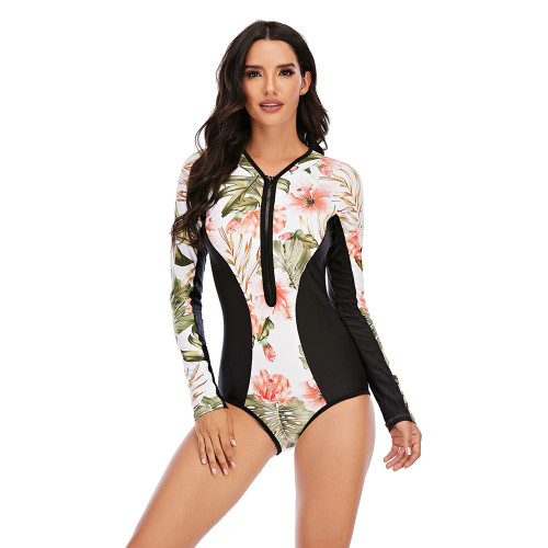 Multicolor Floral Print Zip Front Rashguard Swimsuit TQK620109-29