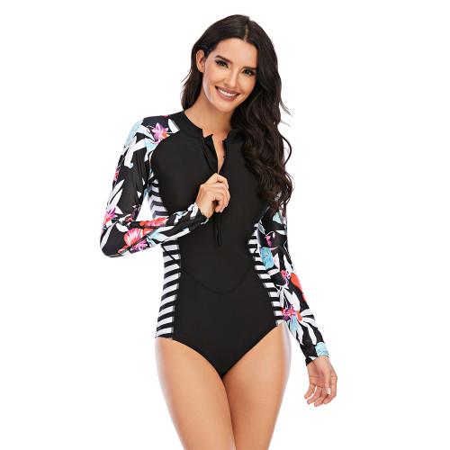 Black White Floral Print Zip Front Rashguard Swimsuit TQK620109-37