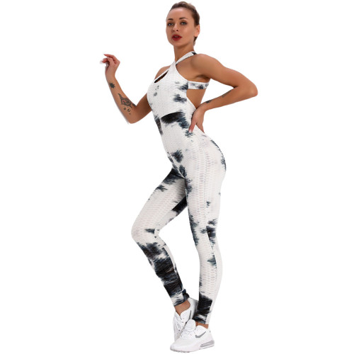 Black White Tie Dye Cross Halter Yoga Jumpsuit TQK550217-37