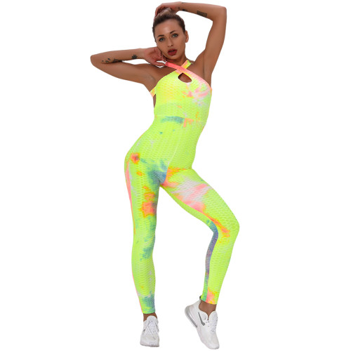 Yellow Tie Dye Cross Halter Yoga Jumpsuit TQK550217-7
