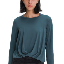 Forest Gray Green Twist Hem Long Sleeve Yoga Tops TQE21056-92