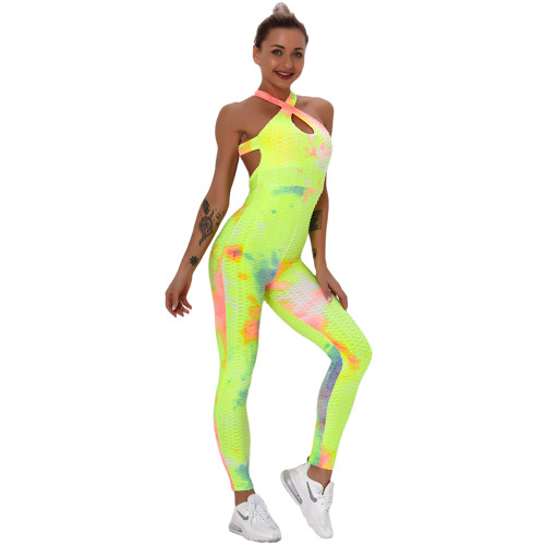 Yellow Tie Dye Cross Halter Yoga Jumpsuit TQK550217-7