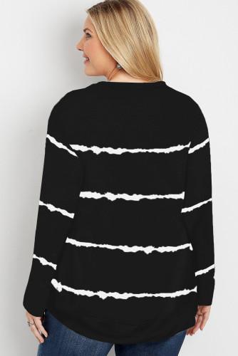 Black Tie-dye Stripes Plus Size Sweatshirt LC253678-2