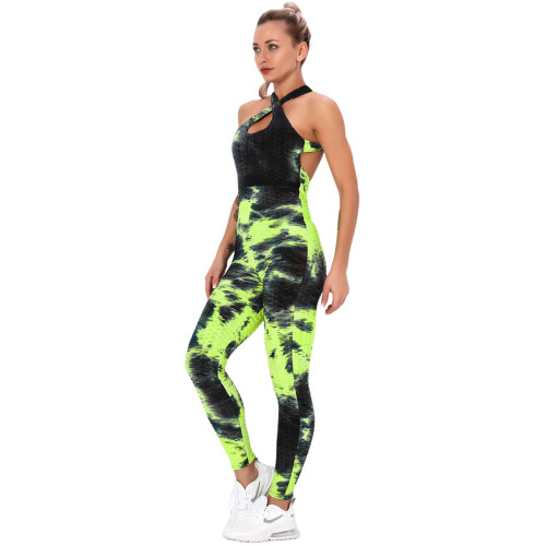 Fluorescent Yellow Tie Dye Cross Halter Yoga Jumpsuit TQK550217-65