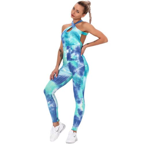 Aquamarine Tie Dye Cross Halter Yoga Jumpsuit TQK550217-45