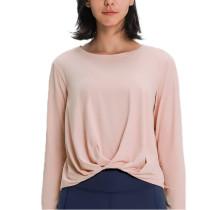 Light Pink Twist Hem Long Sleeve Yoga Tops TQE21056-39