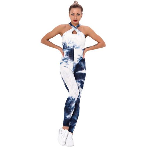 Navy Blue Tie Dye Cross Halter Yoga Jumpsuit TQK550217-34