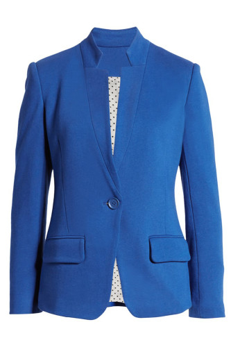 Blue Notch Collar Long Sleeve Shoulder Pad Blazer LC852002-5