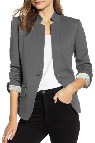 Gray Notch Collar Long Sleeve Shoulder Pad Blazer LC852002-11