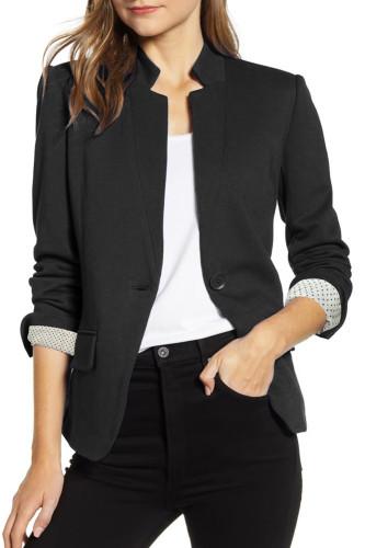 Black Notch Collar Long Sleeve Shoulder Pad Blazer LC852002-2