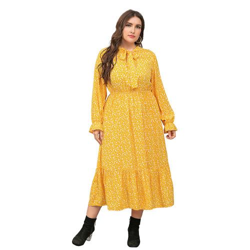 Yellow High Waist Chiffon Plus Size Floral Dress TQK310445-7