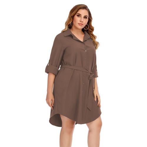 Coffee Tie Waist Plus Size Shirt Dress TQK310443-15
