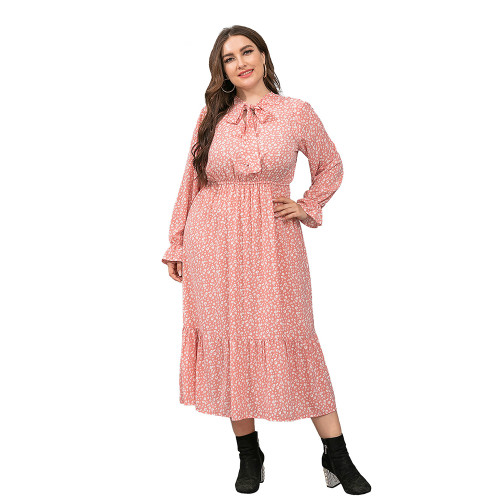 Pink High Waist Chiffon Plus Size Floral Dress TQK310445-10