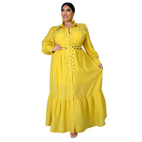 Solid Yellow Button Down Plus Size Dress TQK310446-7