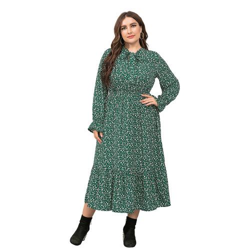 Green High Waist Chiffon Plus Size Floral Dress TQK310445-9