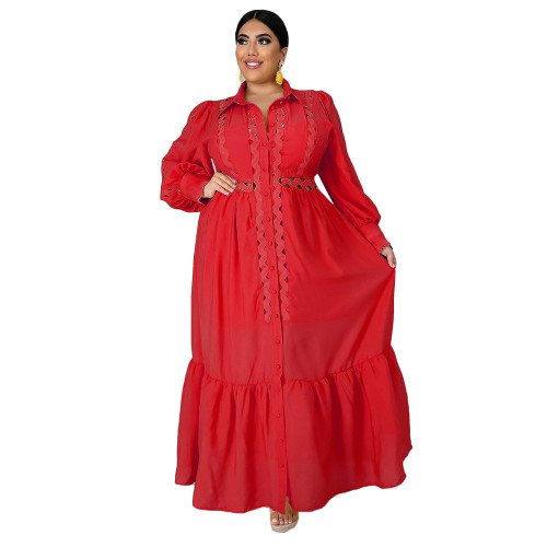 Solid Red Button Down Plus Size Dress TQK310446-3