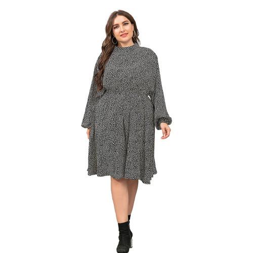 Black Polka Dot Long Sleeve Plus Size Dress TQK310444-2