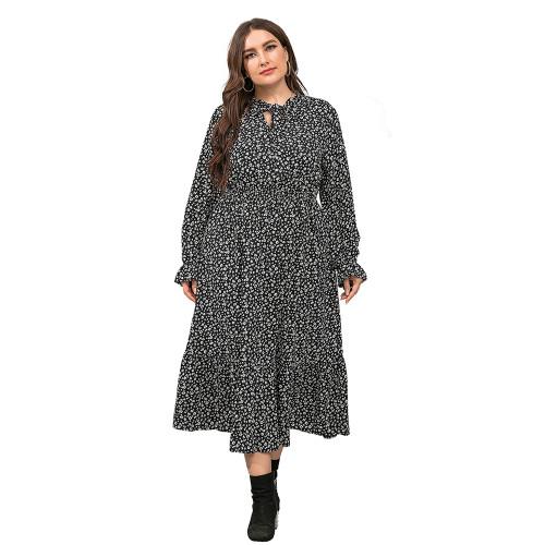Black High Waist Chiffon Plus Size Floral Dress TQK310445-2