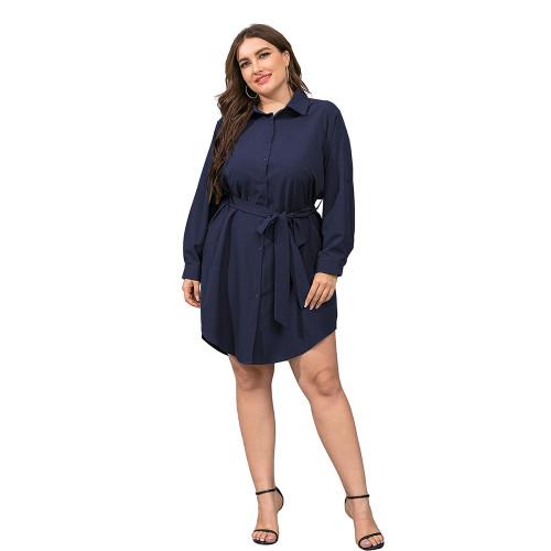 Navy Blue Tie Waist Plus Size Shirt Dress TQK310443-34