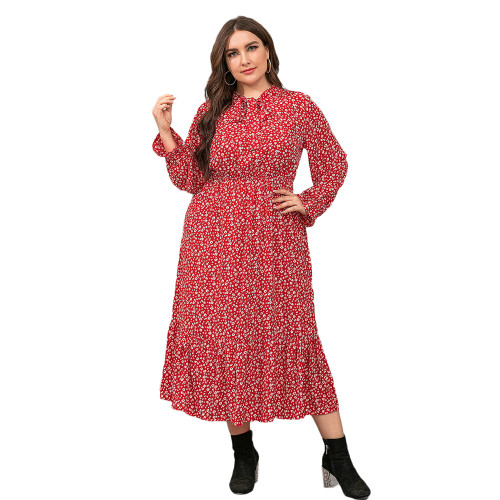 Red High Waist Chiffon Plus Size Floral Dress TQK310445-3