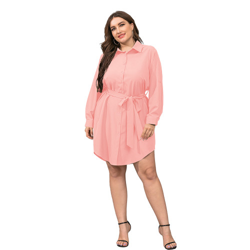 Pink Tie Waist Plus Size Shirt Dress TQK310443-10