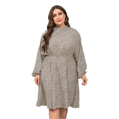 Apricot Polka Dot Long Sleeve Plus Size Dress TQK310444-18