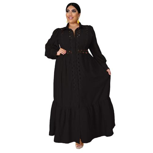 Solid Black Button Down Plus Size Dress TQK310446-2