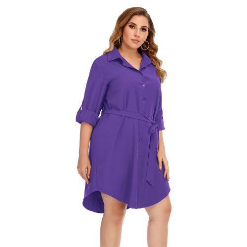 Purple Tie Waist Plus Size Shirt Dress TQK310443-8