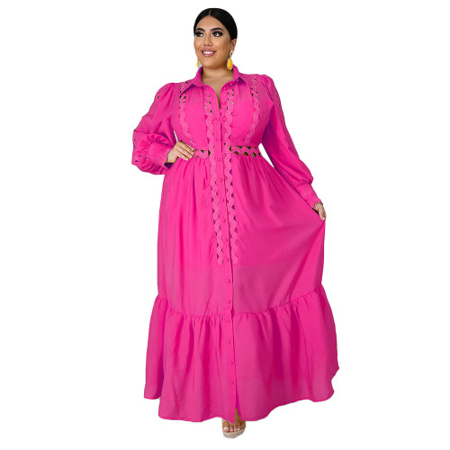 Solid Rosy Button Down Plus Size Dress TQK310446-6