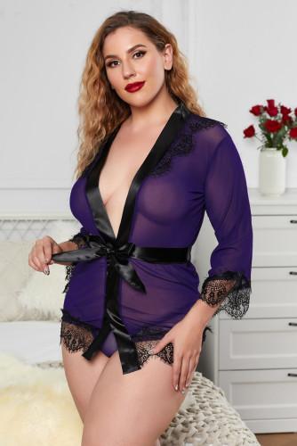 Purple Sheer Eyelash Lace Plus Size Robe LC35120-8