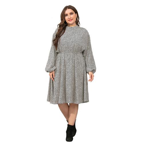 Gray Polka Dot Long Sleeve Plus Size Dress TQK310444-11