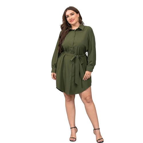 Army Green Tie Waist Plus Size Shirt Dress TQK310443-27