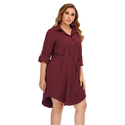 Wine Red Tie Waist Plus Size Shirt Dress TQK310443-103