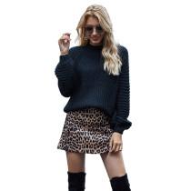 Solid Black Knit Pullover Sweater TQK271209-2