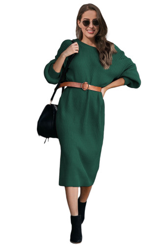 Green Ribbed Midi Sweater Dress LC273003-9