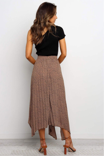 Brown Fashion Print Side Slit Pleated Maxi Skirt LC65299-17
