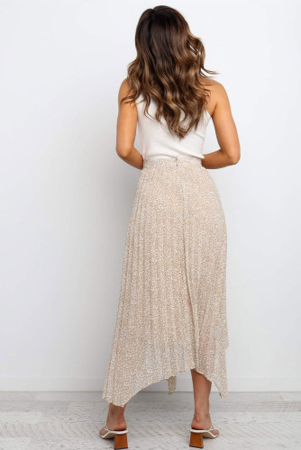 Beige Fashion Print Side Slit Pleated Maxi Skirt LC65299-15