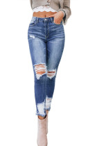 Dark Blue Washed Distressed Slits Skinny Jeans LC78523-5