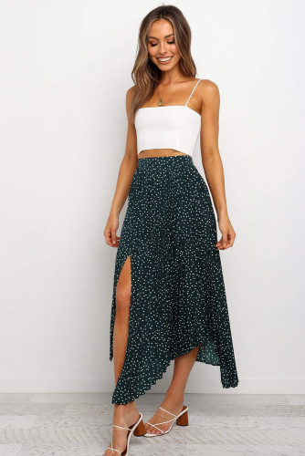 Green Fashion Print Side Slit Pleated Maxi Skirt LC65299-9