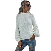 Solid White Knit Pullover Sweater TQK271209-1