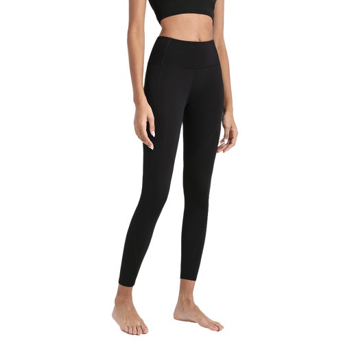 Black High Waist Hip Lifting Fitness Pants with Brushed Pockets TQE64063-2