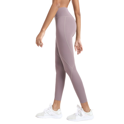 Ash Purple High Waist Hip Lifting Fitness Pants with Brushed Pockets TQE64063-88